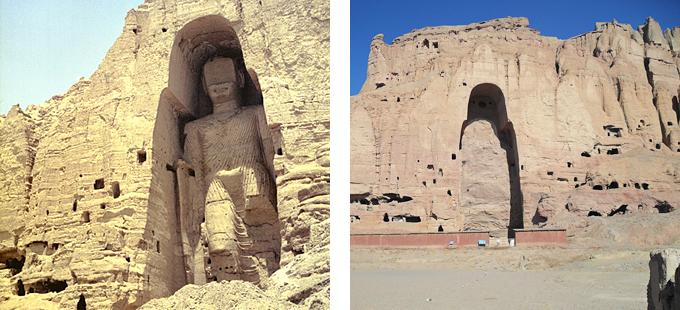 Buda de Bamiyan antes de su destrucción y cuevas en Bamiyan sin los Budas