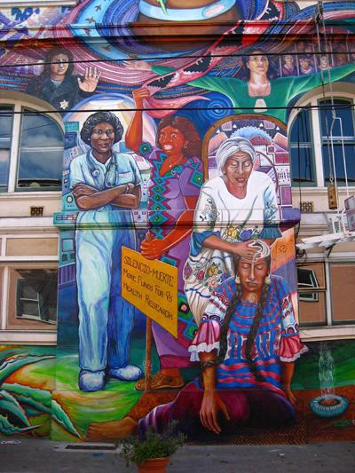 Mujeres retratadas en un mural
