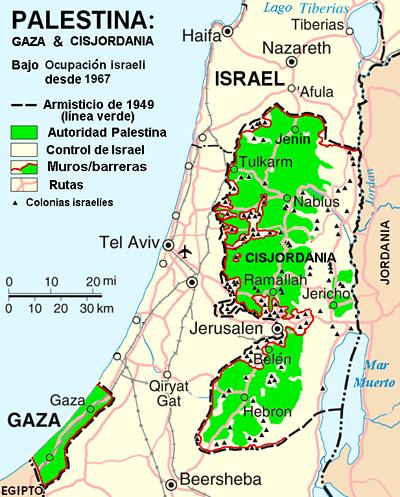 Mapa de Palestina e Israel en 2005